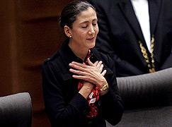 Ingrid Betancourt en un momento de su discurso